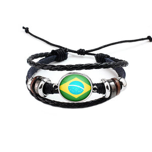 Brazil National Flag Layered Leather Bracelet