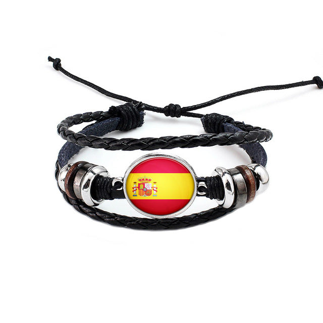 Spain National Flag Layered Leather Bracelet