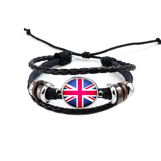 UK National Flag Layered Leather Bracelet