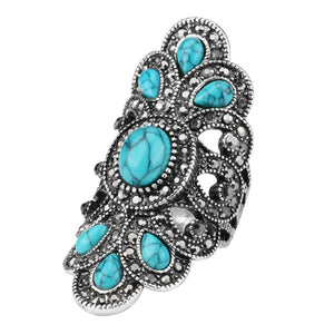 Bohemian Sterling Silver and Turquoise Ring