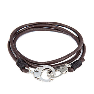 Handcuffed Stainless Steel Leather Bracelet [5 Variations]