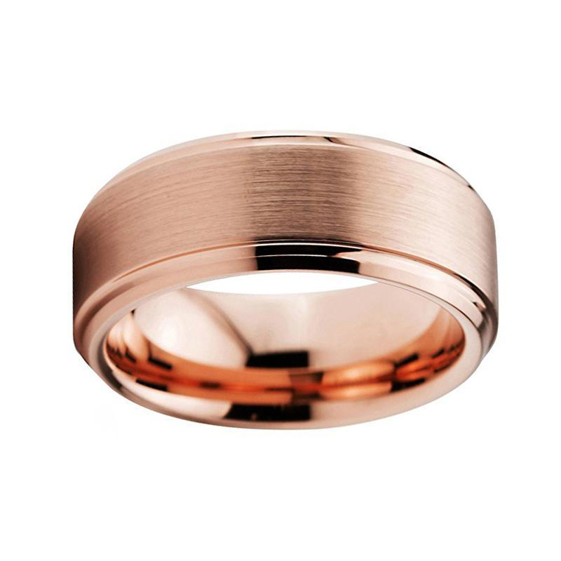 Thick Double Groove Brushed Rose Gold Tungsten Ring