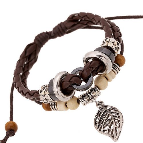 Bohemian Leaf Charm Retro Beaded Genuine Leather Bracelet