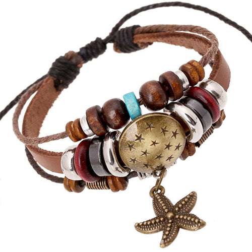 Retro Bohemian Bronze Starfish Charm Leather Bracelets