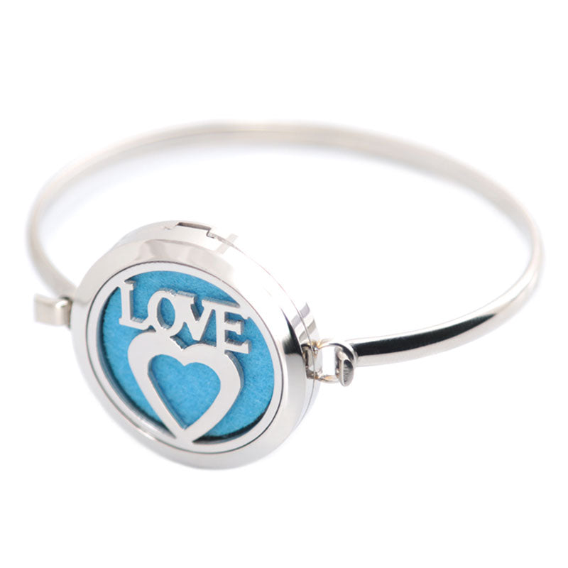 Silver Heart Love Essential Oils Diffuser Bangle