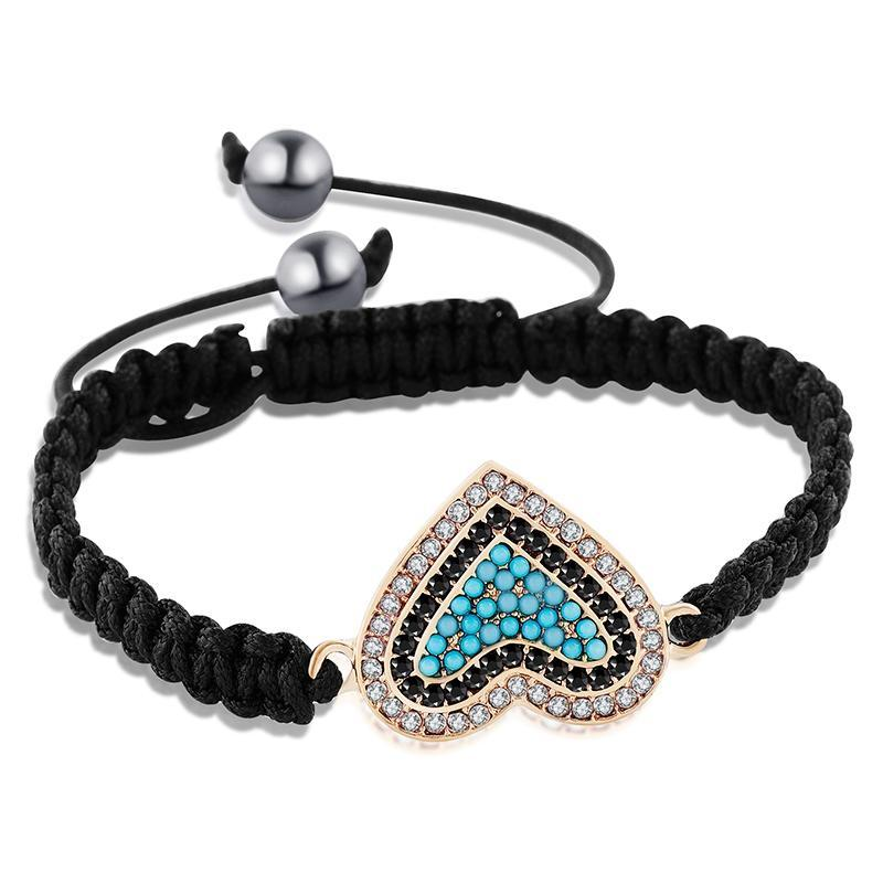 Rhinestone Heart Charm Black Braided Bracelet [3 Variants]