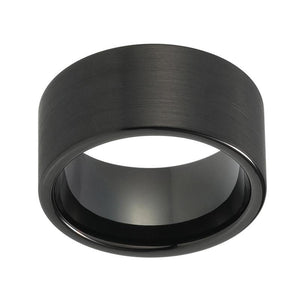 Solid Black Brushed Finish Tungsten Ring