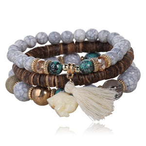 Stackable White Jade Elephant Beaded Bracelet Set