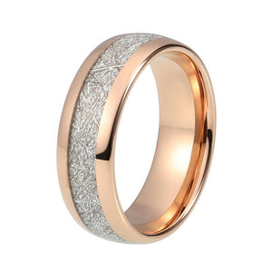 Meteorite Inlay Rose Gold Dome Tungsten Carbide Ring