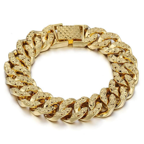 Gold Hammered Curb Chain Bracelet