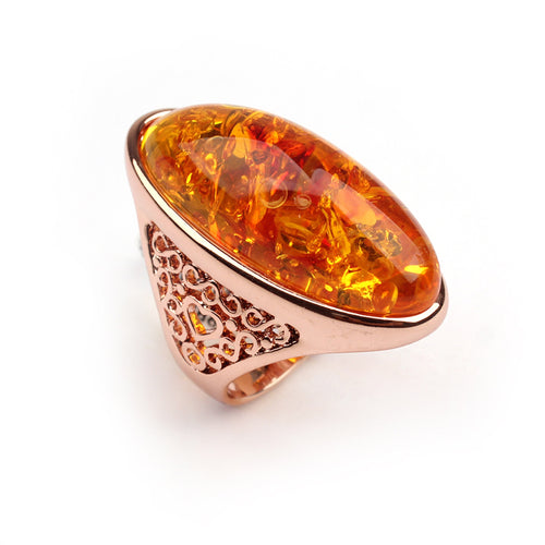 Natural Yellow Amber Stone Gold Ring (2 Variants)