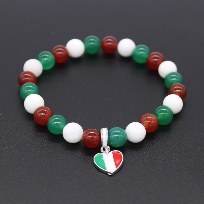 Italy National Flag Natural Stones Beaded Bracelet