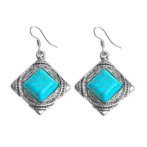 Tibetan Silver Square Dangle Earrings
