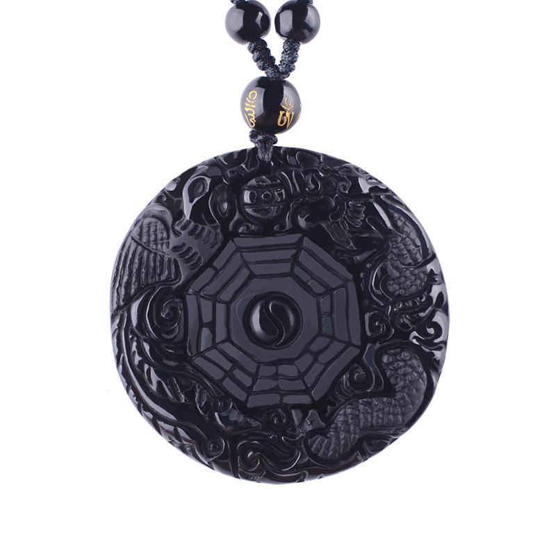 Bagua Style Carved Obsidian Amulet Necklace