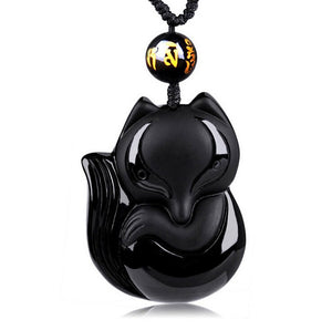 Hand-Carved Lucky Fox Black Obsidian Amulet Necklace