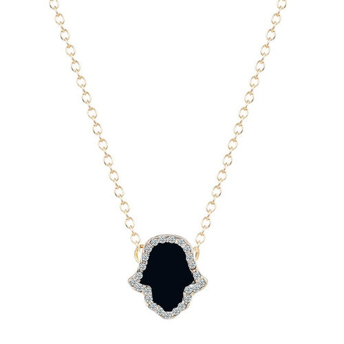 Onyx Hamsa Pendant Chocker Necklace [Silver - Gold]
