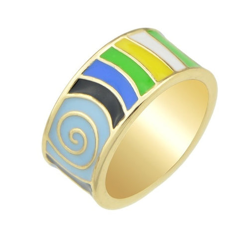 Striped Enamel Boho Ring [3 Colors]
