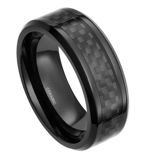 Black Ceramic Ring Carbon Fiber Inlay