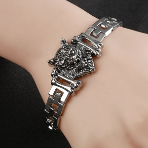 Wolf Head Stainless Steel Charm Bracelet