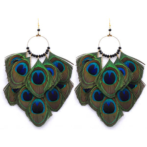 Bold Peacock Feather Hoop Earrings