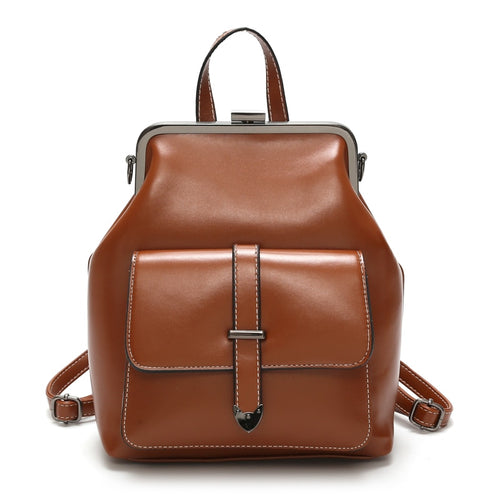 WOMEN'S RETRO HASP LEATHER MINI BACKPACK [3 VARIANTS]