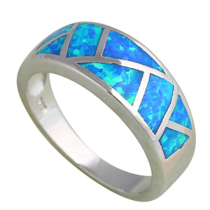 Cool Ocean Blue Silver Opal Ring
