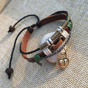 Lock And Key Leather Couple Bracelets [1 Lock & 1 Key Bracelet Set]