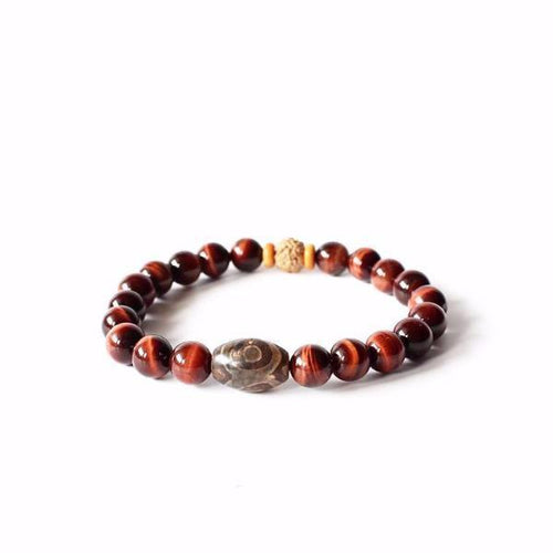 Red Tiger Eye Stone Tibetan Rudraksha Beads Bracelet