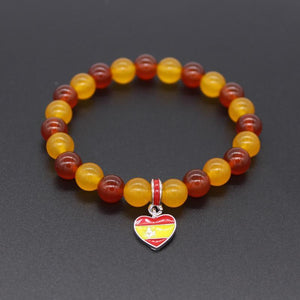 Spain National Flag Natural Stones Beaded Bracelet