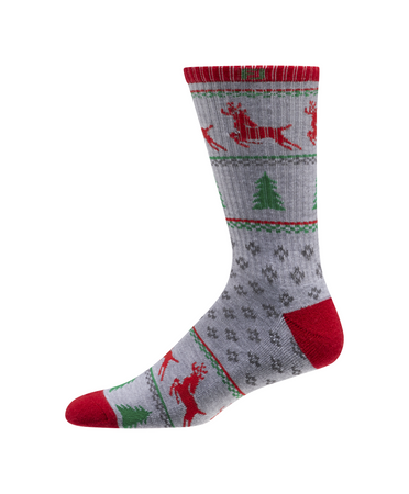 FootJoy ProDry Men's Holiday Christmas Trees & Deer Grey (One Pair) - Golf Country Online