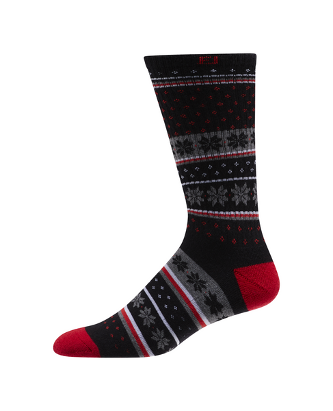 FootJoy ProDry Men's Winter Snowflakes Stripes Black Grey Red (One Pair) - Golf Country Online