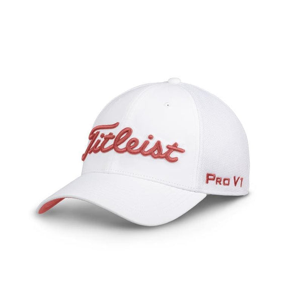 Titleist Tour Sports Mesh White/Island Red Hat/Cap (TH8FTMW-P12) CHOOSE SIZE - Golf Country Online
