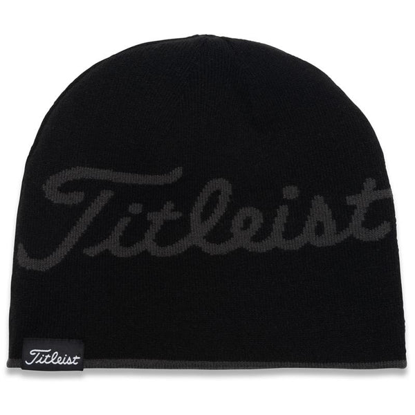 Titleist Lifestyle Reversible Knit Moisture Wicking Beanie Hat Charcoal/Black Stripes - Golf Country Online