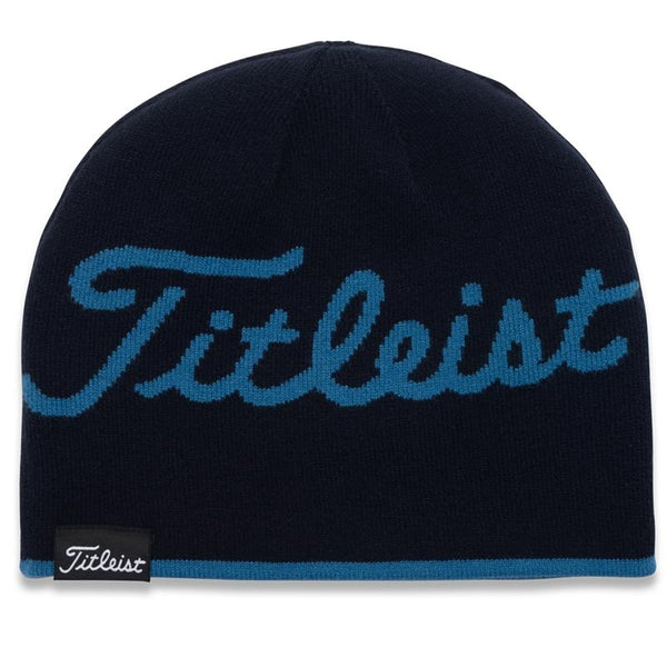 Titleist Lifestyle Reversible Knit Moisture Wicking Beanie Hat Bay Blue/Navy Stripe