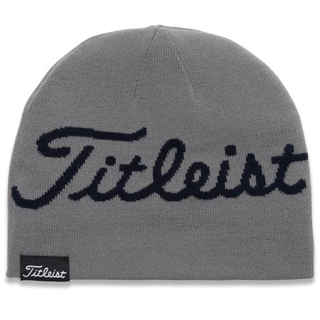Titleist Lifestyle Reversible Knit Moisture Wicking Beanie Hat Gray/Navy Stripe - Golf Country Online