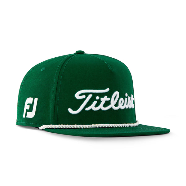 TITLEIST TOUR ROPE FLAT BILL TREND GOLF HAT - HUNTER GREEN