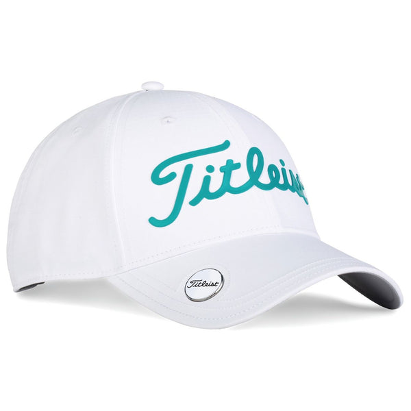 Titleist Golf- Performance Ball Marker Cap White Collection - White/Teal - Golf Country Online