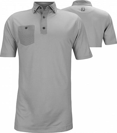 FootJoy Athletic Fit Birdseye Jacquard Buttondown Collar Shirt - Golf Country Online
