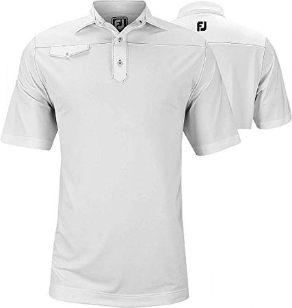 FootJoy Athletic FIT Solid Lisle Faux Pocket Contrast Stitch Golf Polo - Golf Country Online
