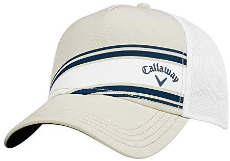 Callaway Golf Stripe Mesh Adjustable Hat - Khaki/White - Golf Country Online