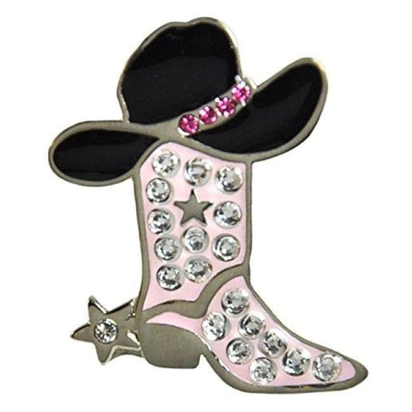 Pink Cowgirl Boot Ballmarker Accented By Genuine Swarovski Crystals With Magnetic Hat Clip - Golf Tees & Accessories