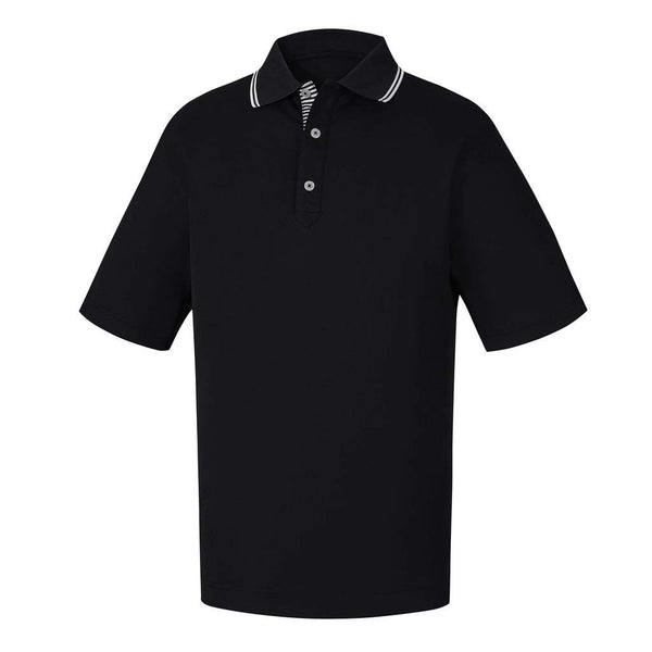 FootJoy PRODRY Performance Smooth Pique Solid Tipping Golf Polo - Black/White