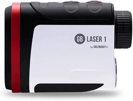 Golf Buddy Laser1 Rangefinder/Pin Finder with Vibration, Black/White/Red