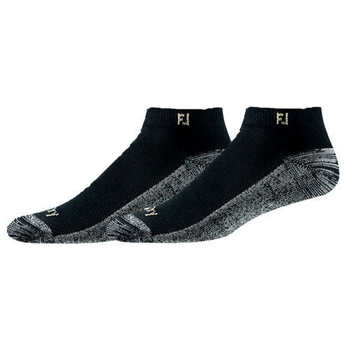 FootJoy ProDry Low Cut w/FJ logo at ankle Mens Socks - Black - 2 Pair Per Pack - Golf Country Online