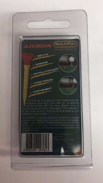 Golf Pro Arrow Tees, Rubber Head Tees, Random Colors, 3 Tees and 1 Anchor Tee