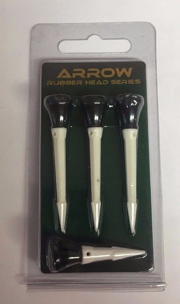 Golf Pro Arrow Tees, Rubber Head Tees, Random Colors, 3 Tees and 1 Anchor Tee - Golf Country Online