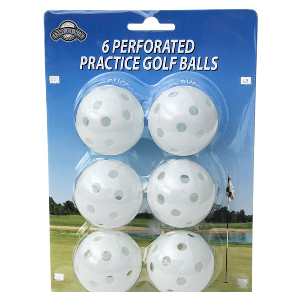 OnCourse Practice Golf Balls - 6 Perforated Practice White Golf Balls