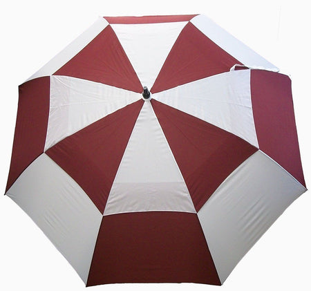"JP Lann Golf Golf StormMaster Umbrella 62"" Burgundy White Double Canopy"