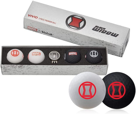 Volvik Vivid Marvel Golf Balls Black Widow 4-Ball Pack