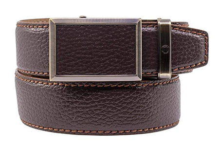 Nexbelt Mens Go-In Pebble Grain Belts - BROWN